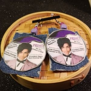 PRINCE Controversy paper/denim fabric earrings